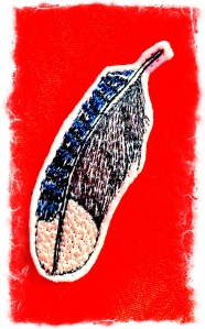Coral and Tusk Blue Jay Brooch