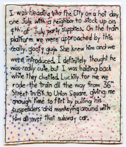 Iviva Olenick's embroidered How We Met Sunset Park