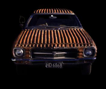 Image of corrugated iron Holden by Jeff Thomson