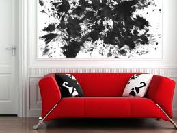 Life is Art Black Painting with Red Couch