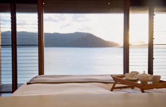 Image of view from bed at Qualia
