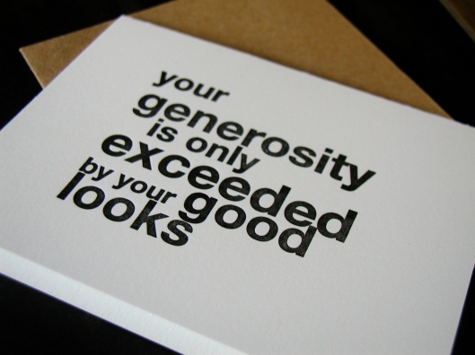 Image of 'Your generosity' card