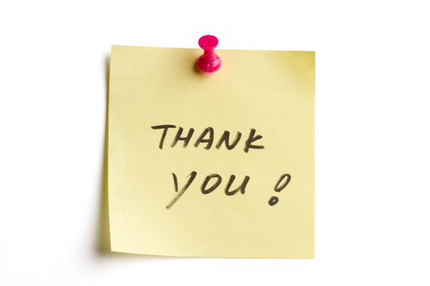 Image of yellow sticky with handwritten 'Thank You'