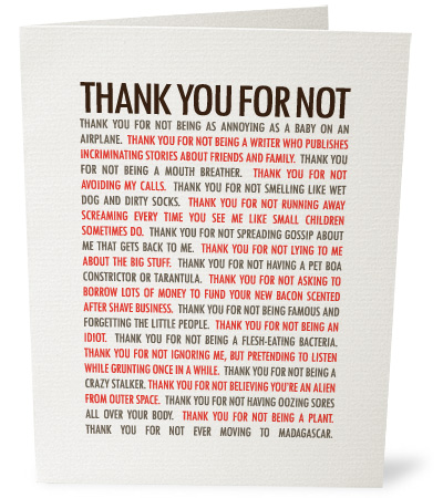 Image of 'Thank you for not' card