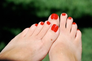 Image of painted toes