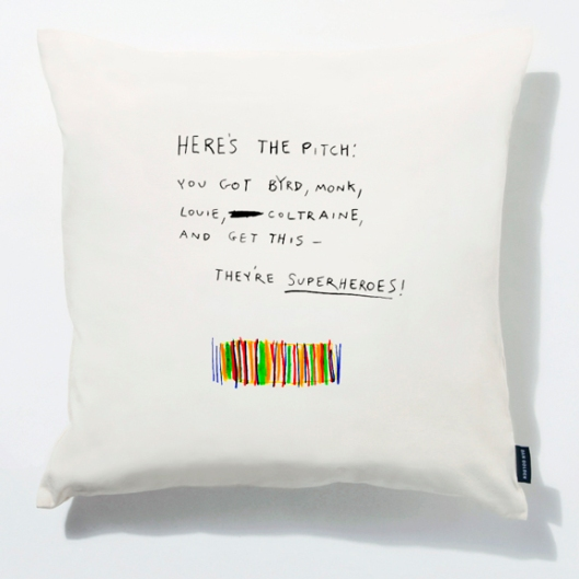 Image of Dan Golden's Jazz Superheroes pillow