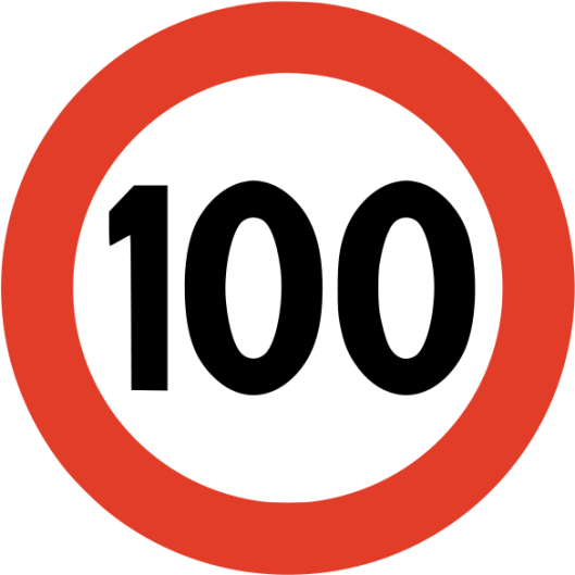 100 kms per hour sign