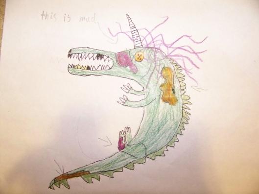 Image of Mud the dinosaur drawn by Rowan