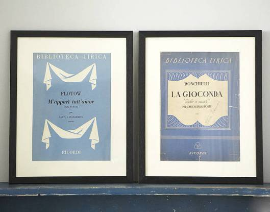 Image of Colporter's Framed Vintage Opera Scores - The Barber of Seville and La Danza