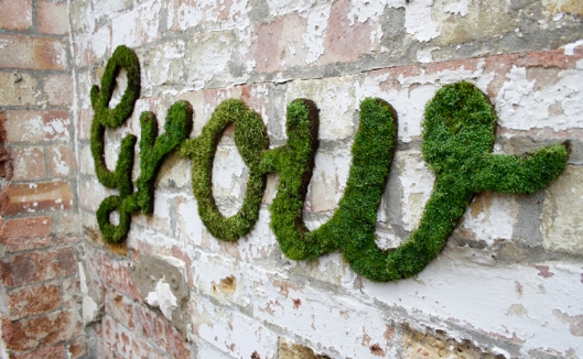 Close Up of 'Grow' - Green Graffiti by Anna Garforth