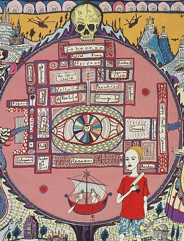 Image of detail from Grayson Perry's Map of Truths and Beliefs (2011)