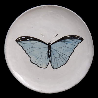 Image of John Derian 'Blue Butterfly' Dinner Plate for Astier de Villatte
