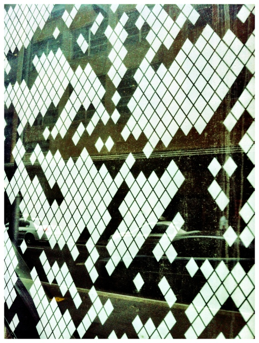 Close up of patterned glass facade at 100 Market Street
