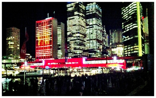 Circular Quay Train Station coloured red during Vivid Sydney 2012