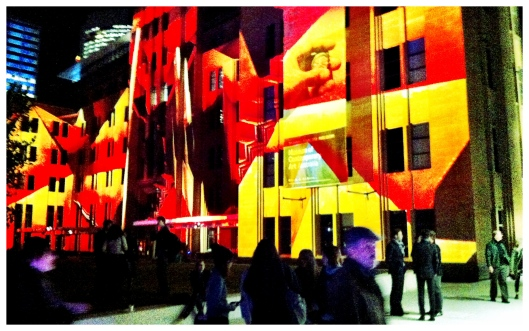 Light Show Installation on original section of MCA During at Vivid Sydney 2012