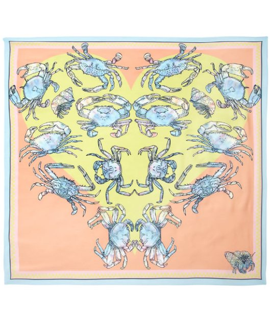 Kaleidoscopic Crustacean Silk Scarf by Silken Favours