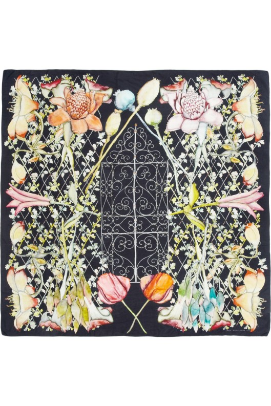 Midnight Heligan printed silk scarf by Swash