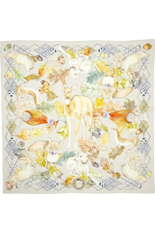 The Cinerous Forest printed silk scarf by Swash