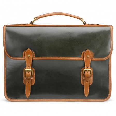 HARROLD WYMINGTON BRIEFCASE IN DEEP GREEN POLISHED CALF LEATHER