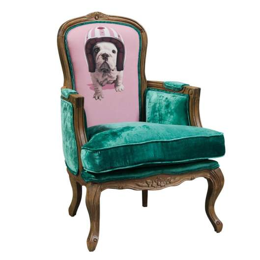 French Green & Pink Lola the Bulldog Armchair from Alexander & Pearl
