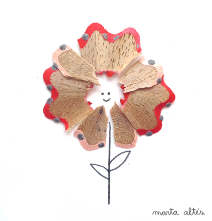 Playing with Pencil Shavings 'Flower' by Marta Altés