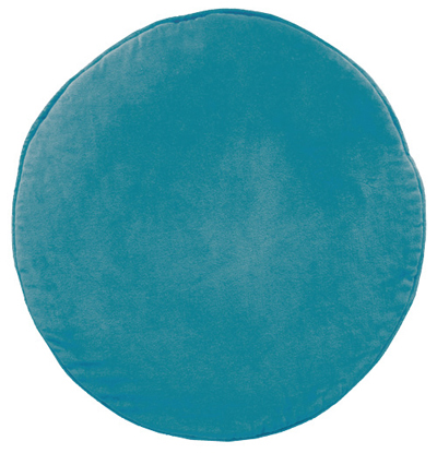 Teal Velvet Penny Round Cushion