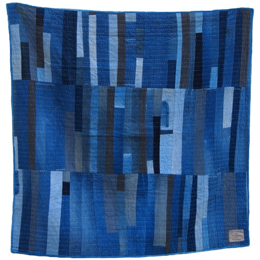 Denim Strip Quilt by Folk Fibers(Image from Folk Fibers)