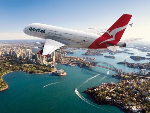 Qantas Flight Over Sydney)(Source unknown)