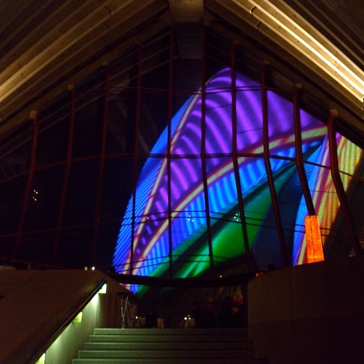 Sydney Opera House Light Installation from inside Guillaume at Bennelong