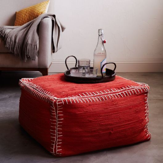 Recycled Rag Rug Pouf from West Elm