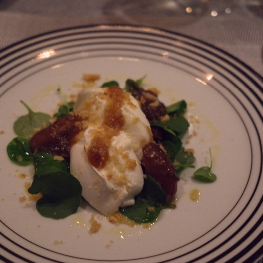 Clevedon Valley Buffalo Mozarella, tomato tamarind relish, pickled Medjool dates, macadamia nuts, lemon oil Seriously bad lighting! (Image by TSL)