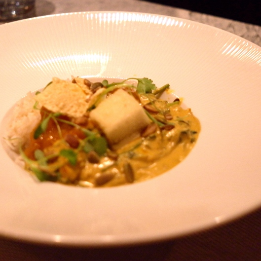 Pumpkin Coconut Curry with tofu, spinach, ginger rice For the vegetarian-inclined (Image by TSL)