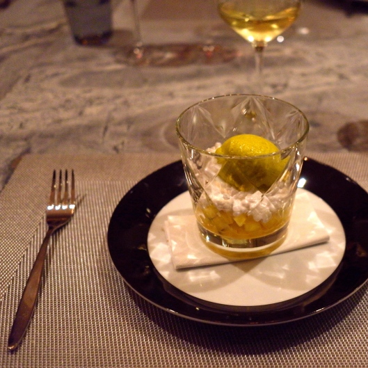 Yuzu Avocado Sorbet with coconut tapioca, passionfruit, and mango, but without the macadamia wafer (for the gluten free girl) Another Peter Gordon signature and it is SO good... (Image by TSL)