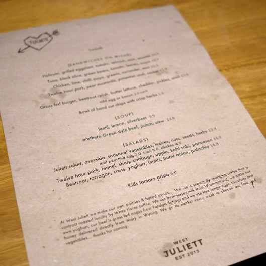 West Juliett's Menu (Image by TSL)