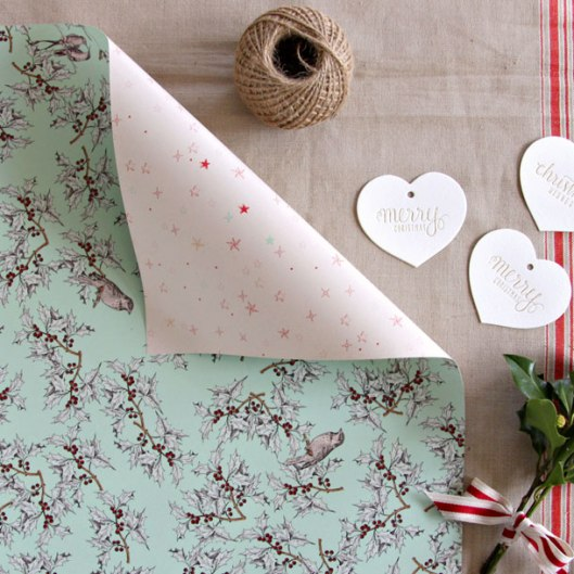 Holly Stars Double sided wrapping paper