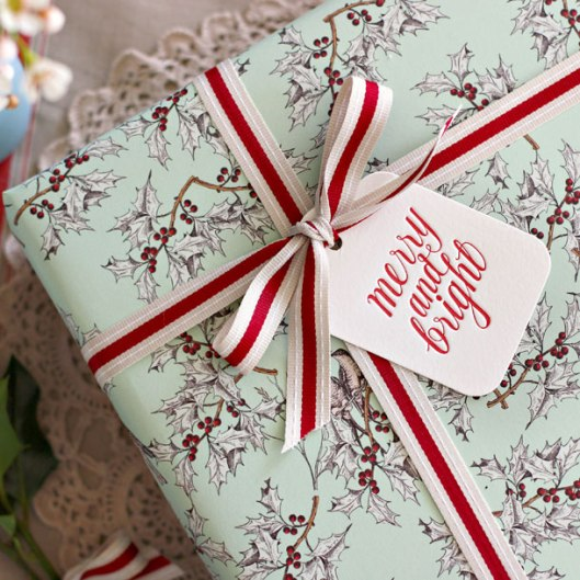Holly/Stars double sided wrapping paper