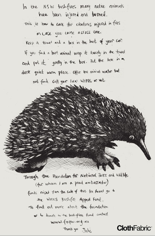 Echidna Tea Towel by Julie Paterson at Cloth
