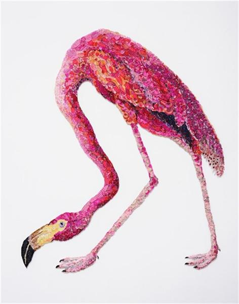 Flaming Flamingo 2011– after John James Audubon, 1838  by Louise Saxton