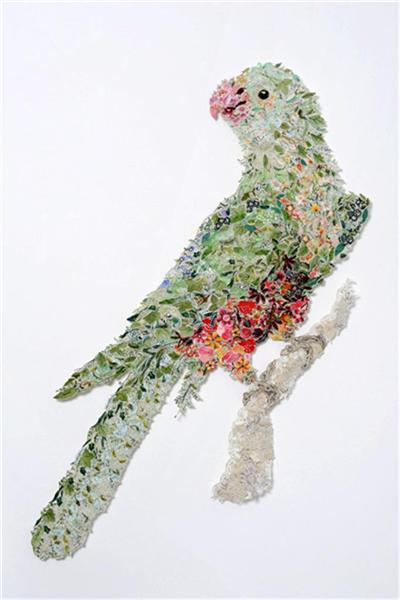 Queen Billie 2010 – after Sarah Stone, 1790 by Louise Saxton Reclaimed needlework, lace pins, nylon tulle  127 x 95 cm (Image from Gould Galleries)