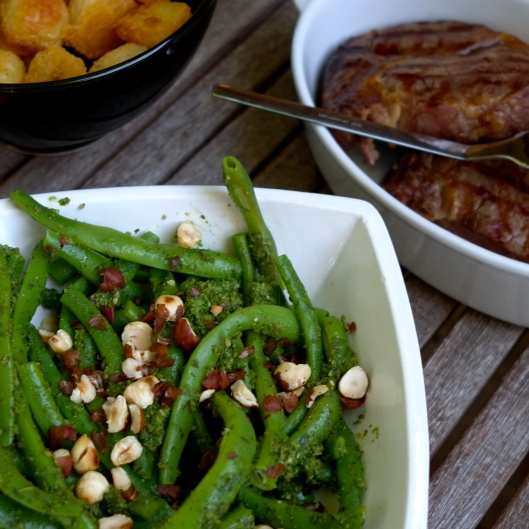 Green Beans with Sorrel Pesto & Roasted Hazelnuts