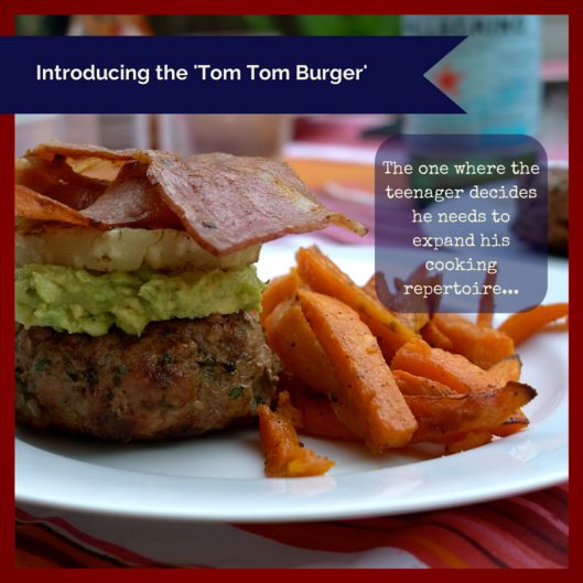 TSL Tom Tom Burger with Sweet Potato Fries